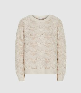 Reiss Ottilie - Textured Patterned Jumper in Pink, Womens, Size XL