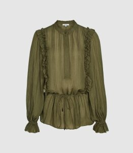 Reiss Alandra - Semi-sheer Ruffled Top in Khaki, Womens, Size 16