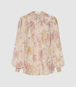 Reiss Handan - Floral Chiffon Blouse in Pink, Womens, Size 16