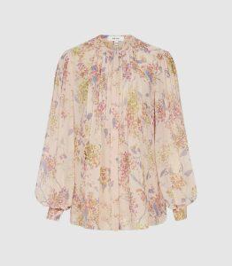 Reiss Handan - Floral Chiffon Blouse in Pink, Womens, Size 16