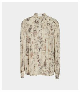 Reiss Ruby - Lamé Detailed Chiffon Blouse in Nude, Womens, Size 16