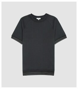 Reiss Ranger - Tipped Heavyweight Jersey T-shirt in Navy, Mens, Size XXL