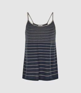 Reiss Maddy - Metallic Striped Knit Cami Top in Navy, Womens, Size XL