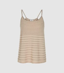 Reiss Maddy - Metallic Striped Knit Cami Top in Blush, Womens, Size XL