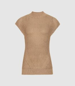 Reiss Connie - Metallic Knitted Top in Bronze, Womens, Size XL