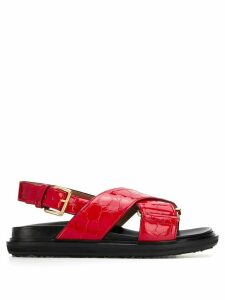 Marni Fussbett crocodile-effect sandals - Red