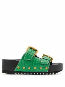 Kurt Geiger London Deven embossed crocodile sandals - Green