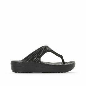 Sloane Embellished Wedge Flip Flops
