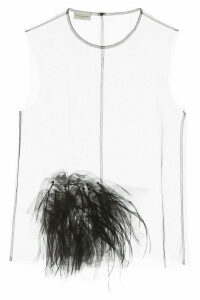 Dries Van Noten China Top With Feathers And Sequins