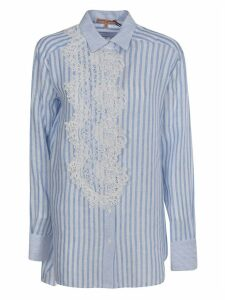 Ermanno Scervino Stripe Print Laced Detail Shirt