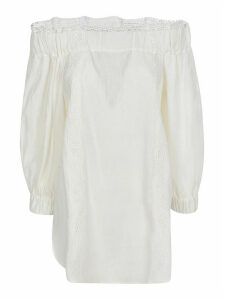 Ermanno Scervino Embroidered Detail Ruffled Off-shoulder Blouse