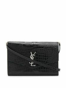 Saint Laurent crocodile effect envelope shoulder bag - Black