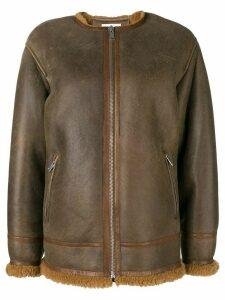 Isabel Marant Étoile fur lined leather jacket - Brown