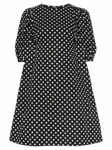 Paskal polka dot print flared cotton mini dress - Black
