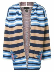 Alanui striped hooded cardigan - White