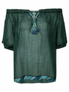 Talitha crisscross cold-shoulder top - Green