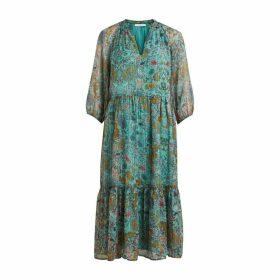 Long Tunisian Collar Midi Dress in Metallic Floral Print