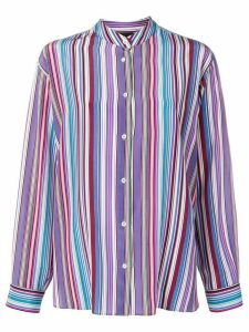 Aspesi striped grandad collar shirt - PURPLE
