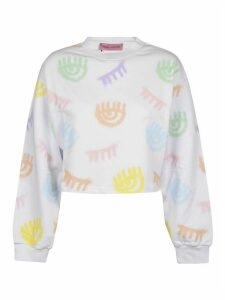 Chiara Ferragni Logomania Spray Crop Crewneck Sweatshirt
