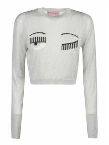 Chiara Ferragni Flirting Lurex Cropped Crewneck Sweater