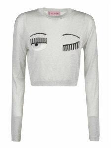 Chiara Ferragni Flirting Lurex Cropped Crewneck Sweater