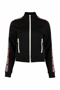 Miu Miu Full Zip Sweatshirt With Side Stripes