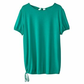 Short-Sleeved Crew Neck T-Shirt with Open Back