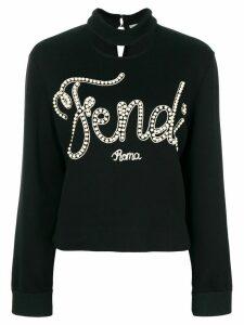 Fendi logo embroidered sweatshirt - Black