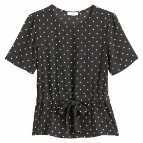 Polka Dot Print Blouse with Tie-Waist and Short Sleeves