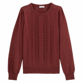 Pointelle Knit Jumper with Round Neck and Gathered Sleeves