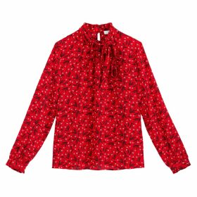 Floral Print Pussy-Bow Blouse with Long Sleeves
