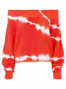 MSGM off shoulder tie-dye sweater - ORANGE