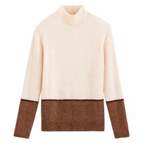 Two-Tone High Neck Jumper with Glitter Stripe