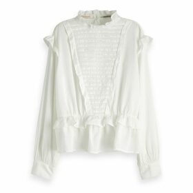Long-Sleeved Stand Collar Blouse
