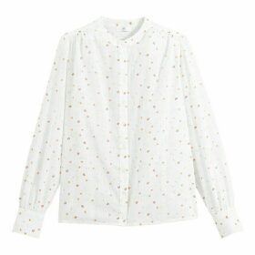 Cotton Round-Neck Shirt with Long Sleeves