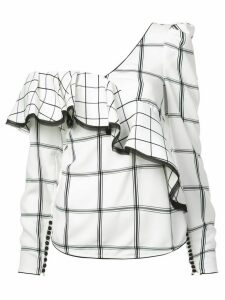 Self-Portrait asymmetric plaid top - White