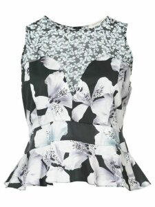 Nicole Miller sleeveless floral blouse - Black