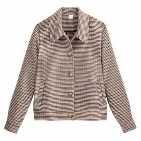 Houndstooth Check Buttoned Jacket with Faux Tortoiseshell Buttons and Pockets