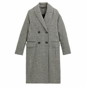 Boyfriend Houndstooth Check Coat with Double-Breasted Buttons and Pockets