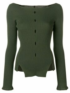 Eudon Choi cut-out detail knitted top - Green