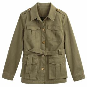 Cotton Fitted Utility Jacket with Pockets