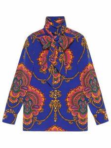 Gucci 70s graphic print silk shirt - Blue