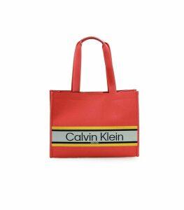 Calvin Klein Coral Stripe Medium Shopping Bag