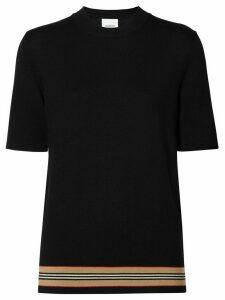 Burberry Short-sleeve Icon Stripe Detail Merino Wool Top - Black