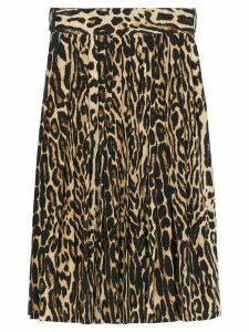 Burberry Leopard Print Stretch Silk Pleated Skirt - NEUTRALS