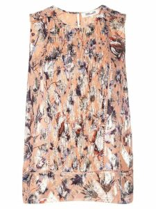 DVF Diane von Furstenberg printed gathered front blouse - ORANGE