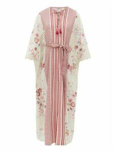 D'Ascoli - Accabonak Striped Cotton Maxi Dress - Womens - Red Print