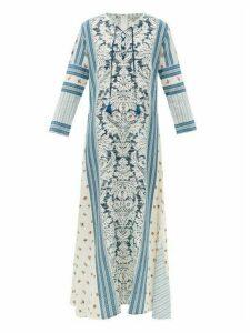 D'Ascoli - Mecox Floral-print Silk Maxi Dress - Womens - Blue Print