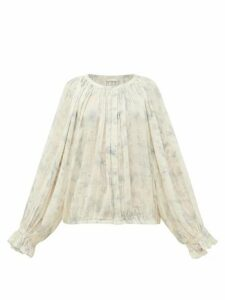 Mes Demoiselles - Voltige Tie-dye Cotton Blouse - Womens - Blue White