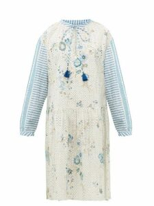 D'Ascoli - Napeague Broderie-anglaise Cotton-khadi Dress - Womens - Blue